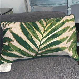 Tropical gold foil palm tree lumbar pillow case